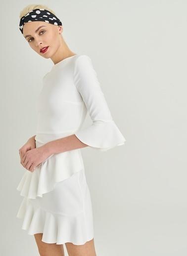 People By Fabrika Volanlı Elbise Beyaz